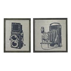 Set Of 2 Antique Camera Prints On Glass