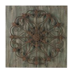 Sterling Meridian-Metal Scroll On Distressed Wood Wall Panel