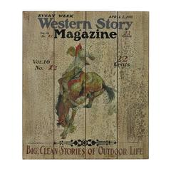 Sterling Western Story-Western Story Magazine Hand Paint On Wood