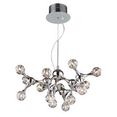 ELK lighting Molecular 15 Light Chandelier In Chrome And Iridescent Glass