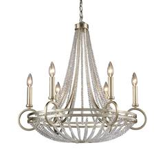 ELK lighting New York 6 Light Chandelier In Renaissance Silver Leaf
