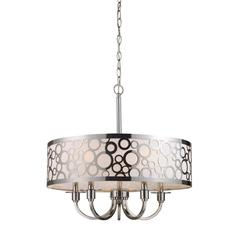 Retrovia 5 Light Chandelier In Polished Nickel