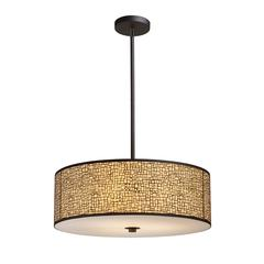 ELK lighting Medina 5-Light Pendant In Aged Bronze With Amber Diffuser