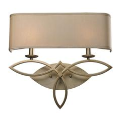 ELK lighting Estonia 2 Light Sconce In Aged Silver With Beige Shade