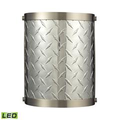 Diamond Plate 1 Light LED Sconce In Brushed Nickel