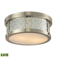 Diamond Plate 2 Light LED Flushmount In Brushed Nickel