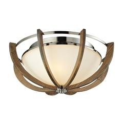 Janette 3 Light Flushmount In Polished Nickel And Chestnut