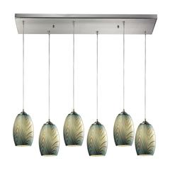 ELK lighting Tidewaters 6 Light Pendant In Satin Nickel And Seafoam Glass