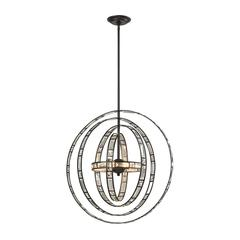 ELK lighting Crystal Orbs 6 Light Pendant In Oil Rubbed Bronze