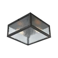 Placid 2 Light Flush In Oil Rubbed Bronze With Clear Ripple Glass