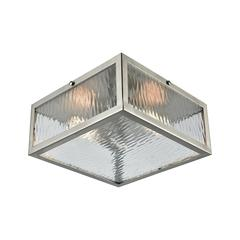 Placid 2 Light Flush In Polished Chrome With Clear Ripple Glass