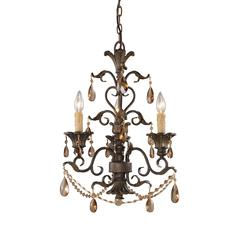 Rochelle 3 Light Chandelier In Weathered Mahogany And Amber Crystal