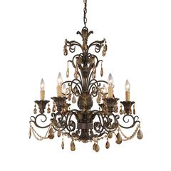 ELK lighting Rochelle 6 Light Chandelier In Weathered Mahogany And Amber Crystal