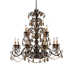 Rochelle 12 Light Chandelier In Weathered Mahogany And Amber Crystal