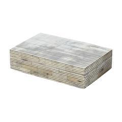 Lazy Susan Pin Stripe Bone Box - Sm