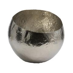 Hammered Nickel-Plated Brass Dish - Sm