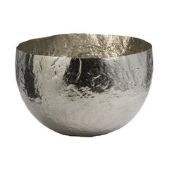 Nickel Plated Hammered Brass Dish - Large