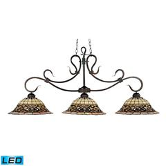 ELK lighting Tiffany Buckingham 3 Light LED Billiard In Vintage Antique