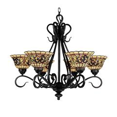 Tiffany Buckingham 6 Light Chandelier In Vintage Antique
