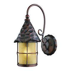 ELK lighting Rustica 1 Light Outdoor Wall Sconce In Antique Copper And Amber Scavo Glass