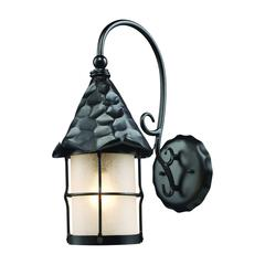 ELK lighting Rustica 1 Light Outdoor Wall Sconce In Matte Black And Scavo Glass