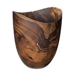 Lazy Susan Dry Marbled Wood Vase - Lg