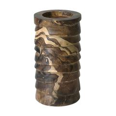 Lazy Susan Marbled Terraced Wood Pillar Holder - Sm