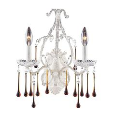 Opulence 2 Light Wall Sconce In Antique White And Amber Crystal