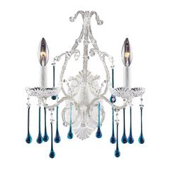 Opulence 2 Light Wall Sconce In Antique White And Aqua Crystal
