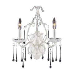 ELK lighting Opulence 2 Light Wall Sconce In Antique White And Clear Crystal