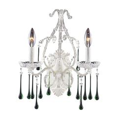 Opulence 2 Light Wall Sconce In Antique White And Lime Crystal