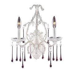 Opulence 2 Light Wall Sconce In Antique White And Rose Crystal