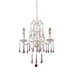 Opulence 3 Light Chandelier In Antique White And Rose Crystal