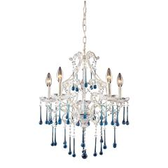 ELK lighting Opulence 5 Light Chandelier In Antique White And Aqua Crystal