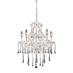 ELK lighting Opulence 5 Light Chandelier In Antique White And Clear Crystal