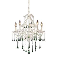 ELK lighting Opulence 5 Light Chandelier In Antique White And Lime Crystal