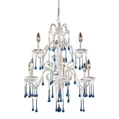 Opulence 9 Light Chandelier In Antique White And Aqua Crystal