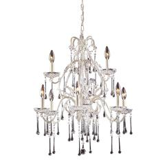 ELK lighting Opulence 9 Light Chandelier In Antique White And Clear Crystal