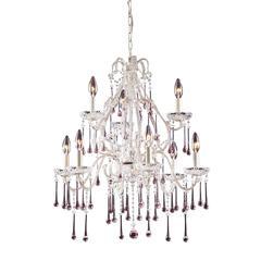 ELK lighting Opulence 9 Light Chandelier In Antique White And Rose Crystal