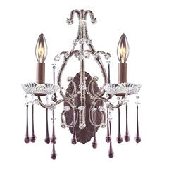 ELK lighting Opulence 2 Light Wall Sconce In Rust And Rose Crystal