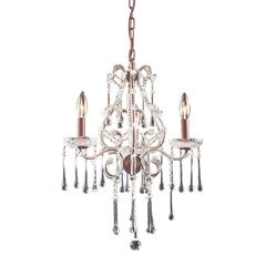 Opulence 3 Light Chandelier In Rust And Clear Crystal