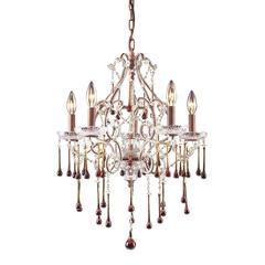 ELK lighting Opulence 5 Light Chandelier In Rust And Amber Crystal