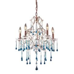 Opulence 5 Light Chandelier In Rust And Aqua Crystal