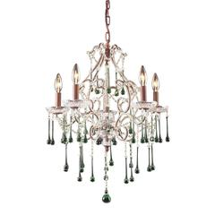 Opulence 5 Light Chandelier In Rust And Lime Crystal