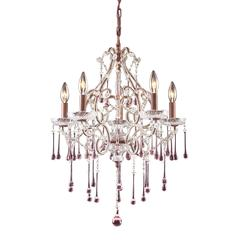 Opulence 5 Light Chandelier In Rust And Rose Crystal