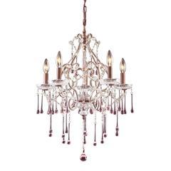 ELK lighting Opulence 5 Light Chandelier In Rust And Rose Crystal