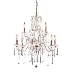 Opulence 9 Light Chandelier In Rust And Clear Crystal