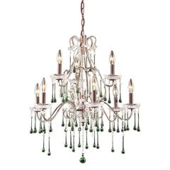 Opulence 9 Light Chandelier In Rust And Lime Crystal