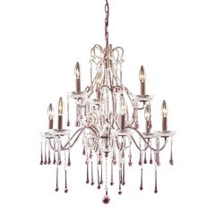 ELK lighting Opulence 9 Light Chandelier In Rust And Rose Crystal