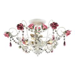 ELK lighting Rosavita 3 Light Semi Flush In Antique White And Pink